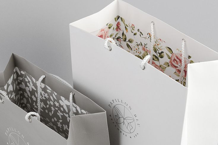 Bags with floral interior walls designed by Sciencewerk for Indonesian spa Papillon Blu.