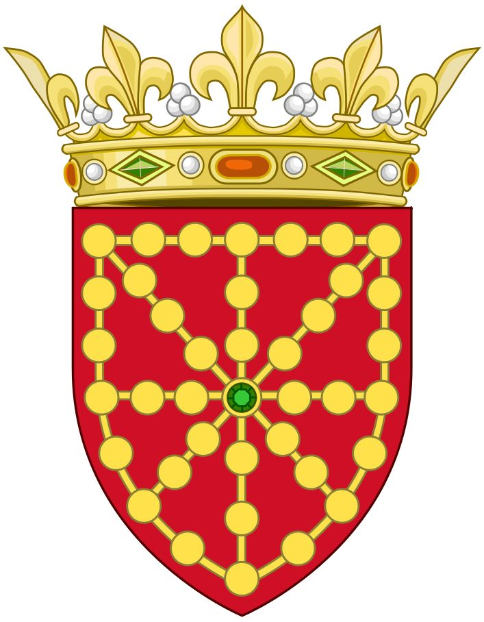 Coat of Arms of the Kingdom of Navarre, today part of Spain and France. Navarre was conquered by Spain in 1512, the Northern part remained independent but later was united with the Kingdom of France when Henry III of Navarre inherited the french throne in 1589.