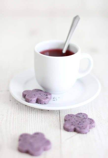 purple cookiesPoppys Shortbread, Fun Recipe, Teas Time, Butter, Coffe Breaking, Seeds, Poppies Shortbread, Purple Cookies, Hibiscus Teas