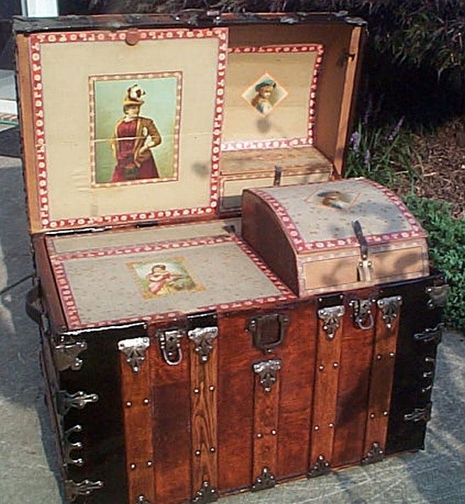 Antique Steamer Trunk #336 AFTER Beautiful restored trunk. Hard to find one so complete.