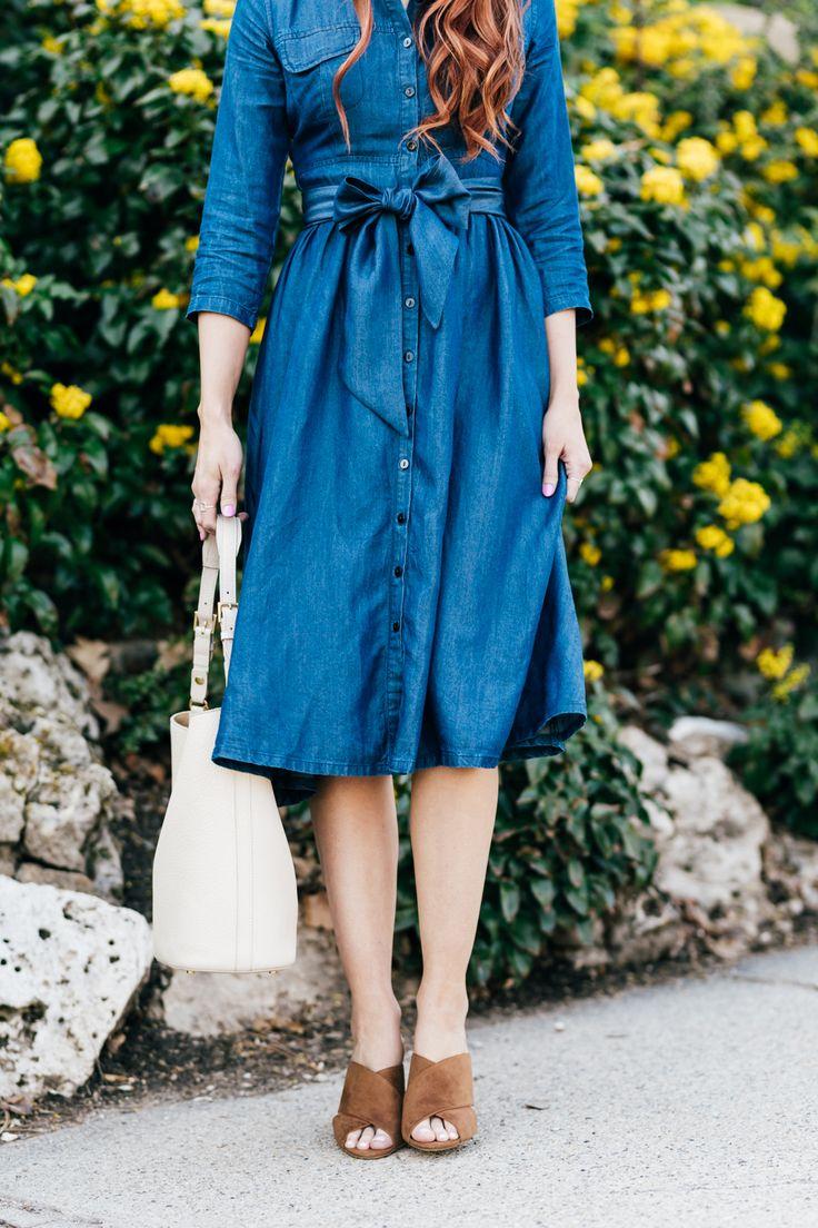 classic denim dress | Little J Style