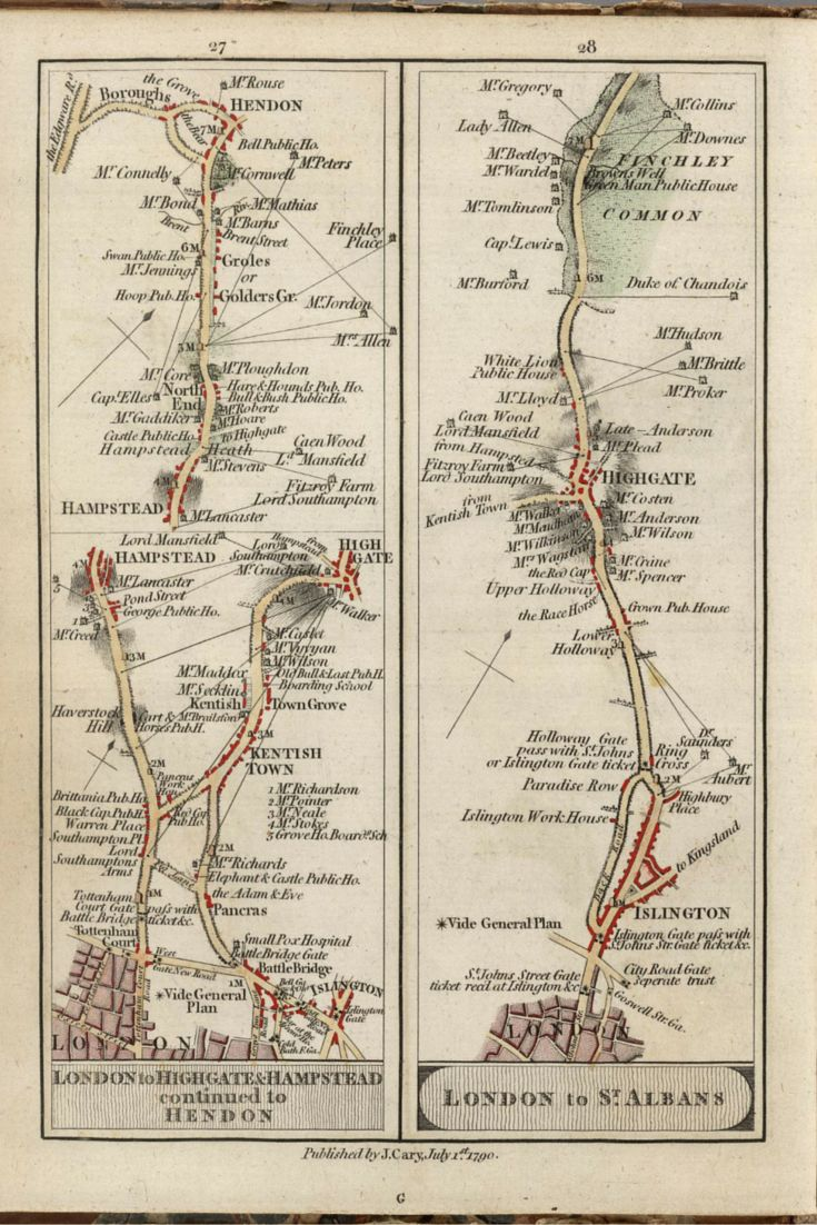 These strip maps of roads around London come from an atlas printed in 1790 by mapmaker John Cary. For travelers moving on foot or on horseback, the level of local information in Cary's maps allowed for better planning of stops and provisioning. Each map named the owners of the houses to be found along the way and designated sites of public houses, inns, and bridges.