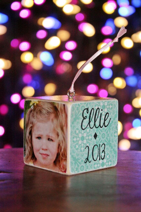 Custom Wooden Photo Block Ornament found on Etsy May be able to make similar one.