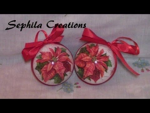 ▶ Tutorial: Decoupage e cracklè su sfera di plastica (christmas decorations) - YouTube