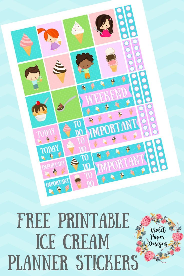 Free Printable Ice Cream Planner Stickers   Kids and Parenting ...