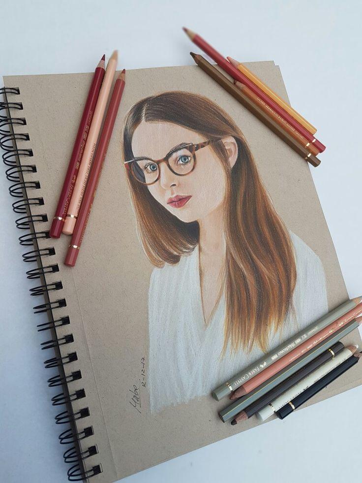 Retrato, lápices de colores