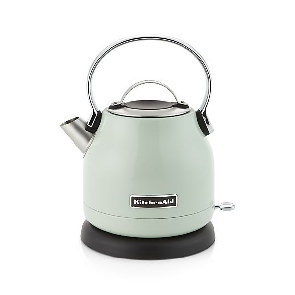 Scaled for smaller spaces and updated with electric functionality, this pistachio green countertop kettle features classic styling with the durability, reliability and design integrity that KitchenAid is known for. The kettle has a 1.7-qt. capacity and boils water rapidly for beverages, hot cereal and recipes.