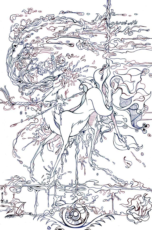 졸전땜에 그린거얌  뛰노는 사슴과 피를 흘리는 사슴의 모습이 보이기도 하다.  생과 사를 보여줘 예쁜 그림에서 벗어나 양면성을 보여주고 싶었다.