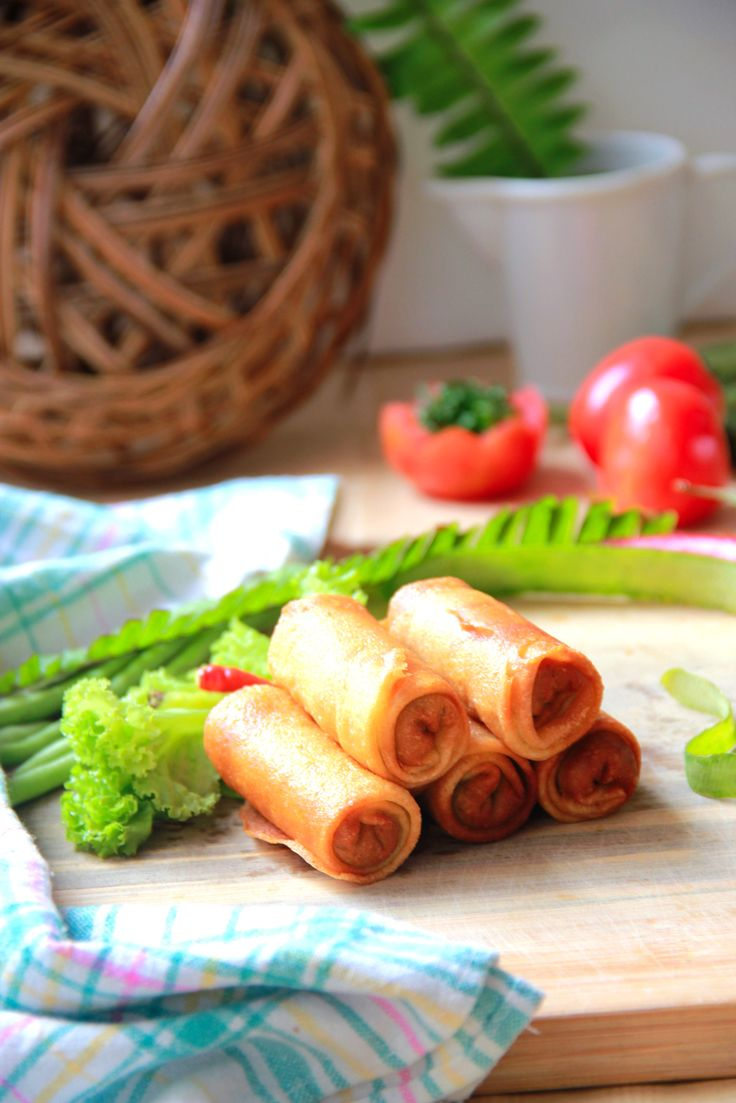 "Indonesian Food ""LUMPIA SOLO""  Crispy outside, and full with vegetable and chicken inside."