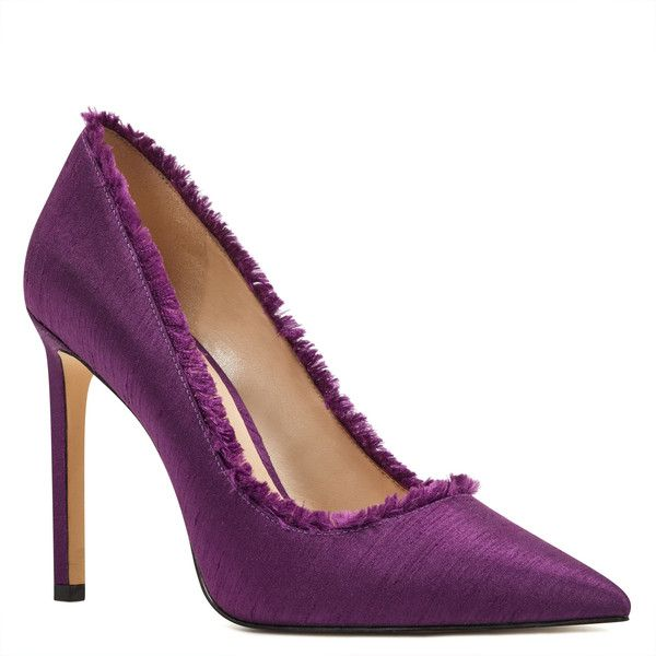 Nine West Thayer Pointy Toe Pumps ($79) ❤ liked on Polyvore featuring shoes, pumps, purple, purple high heel shoes, high heel court shoes, purple shoes, nine west shoes and pointed toe high heel pumps