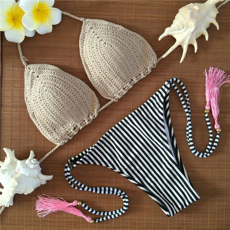 $18.99 (Buy here: https://alitems.com/g/1e8d114494ebda23ff8b16525dc3e8/?i=5&ulp=https%3A%2F%2Fwww.aliexpress.com%2Fitem%2FGkaqi%2F32656672265.html ) 2016 beige fringe floral handmade crochet bikini triangle Striped swimsuit halter bandeau swimming suit for women beach swimwear for just $18.99