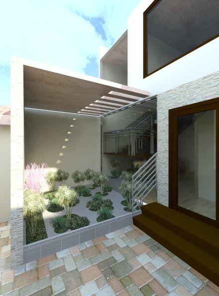 Vista del jardín Zen que empieza en el interior y termina en el exterior : Jardines de estilo moderno por Diseño Store