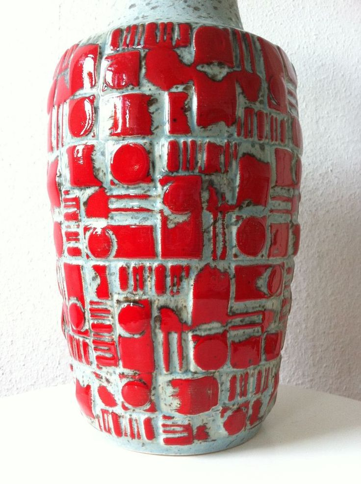 Uebelacker Ü Keramik Relief Vase 40,5 cm Fat Lava 70s 70er pop roth ceramics wgp in Antiquitäten & Kunst, Design & Stil, 1970-1979 | eBay