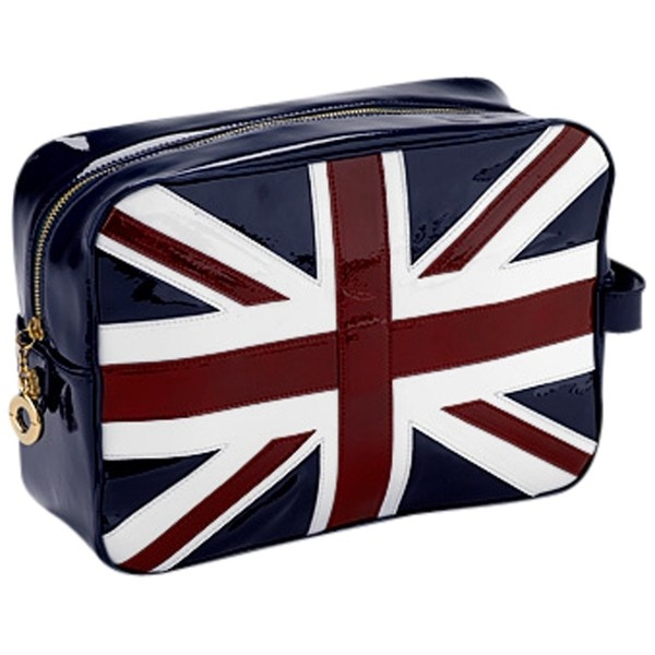 Aspinal of London Brit Large Cosmetic Case, Navy ($230) ❤ liked on Polyvore