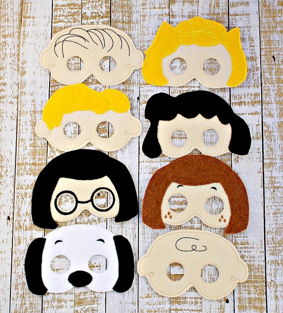 Peanuts inspired masks, Peanuts, halloween costume, childrens mask, felt mask, school play, dressup theater, dress up, mask, charlie brown