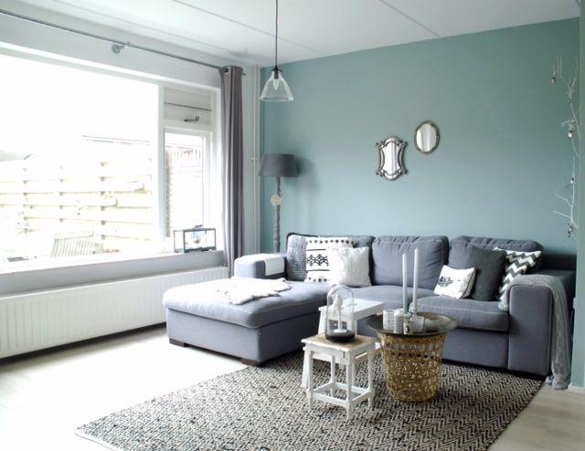 Groene wand in huis woonkamer uden pinterest for Huis verven inspiratie