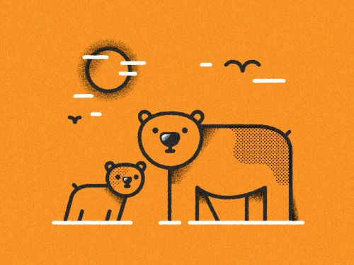 "dribbblepopular: ""Simple bears WIP (per. experiments with lines '16) http://ift.tt/2hFuyoj """
