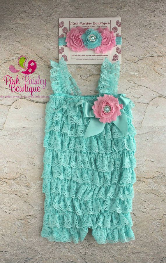 Lace Petti Romper - 3 pc SET- Aqua & Pink Petti Romper- Ruffle Romper -Baby Girl Rompers -Ruffle Rompers - 1st Birthday Outfit - Baby Romper on Etsy, $34.99