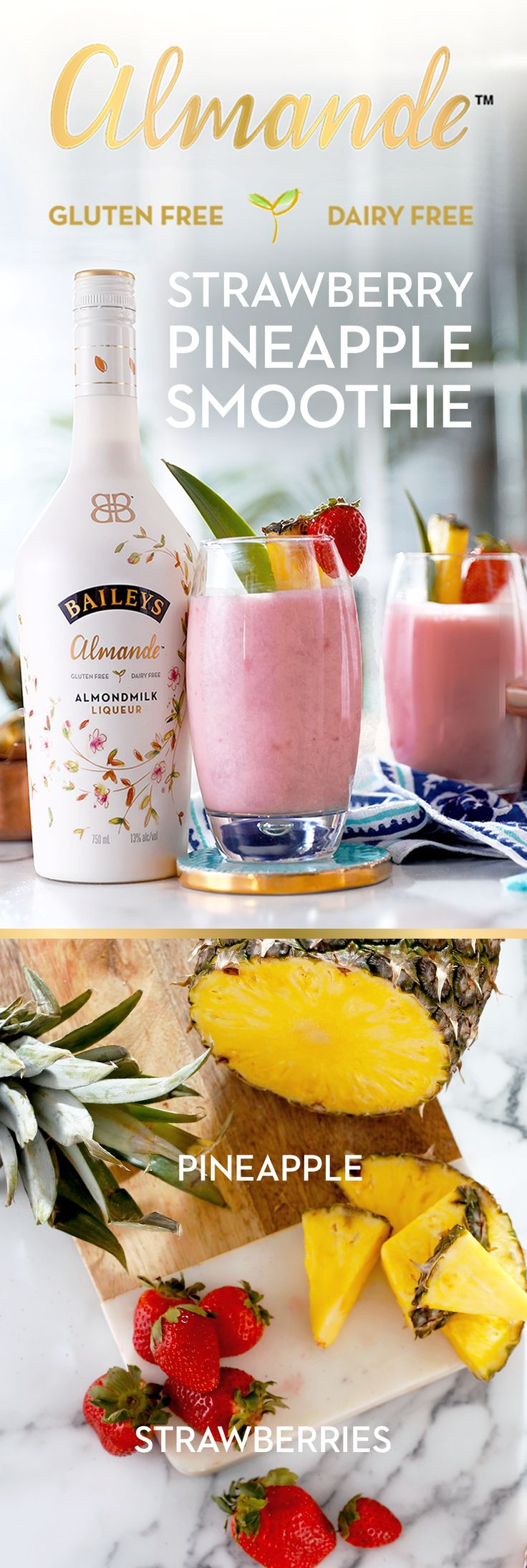 Hot days beware. This fresh combo gives the classic fruit smoothie a light-tasting upgrade with Baileys Almande - the new dairy free, gluten free, and vegan almondmilk liqueur. Simply mix ½ cup pineapple, ½ cup strawberries, 2 oz Baileys Almande, and ½ cup ice cubes and enjoy!