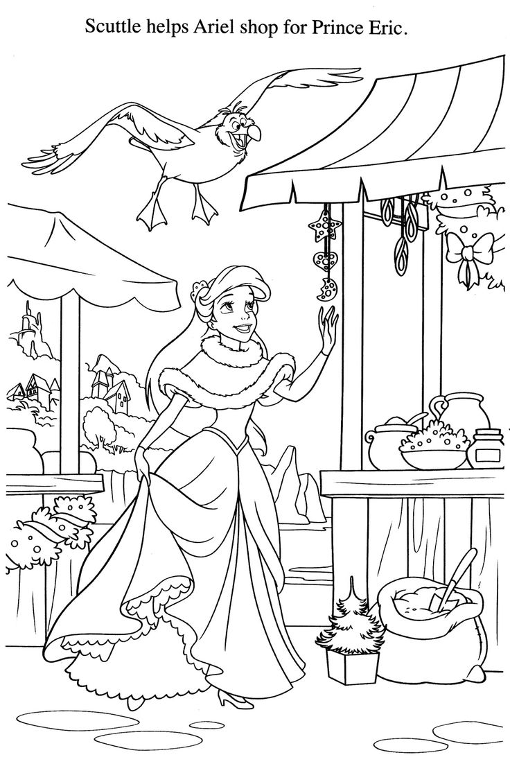 Disney go coloring pages - Ariel Don T Go Shopping With Scuttle It Won T End Well He Doesn T Know What See More From Disney Coloring Pages