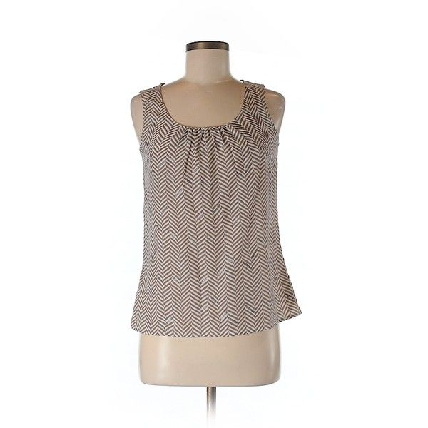 Pre-owned Ann Taylor LOFT Sleeveless Blouse Size 4: Beige Women's Tops ($16) ❤ liked on Polyvore featuring tops, blouses, beige, sleeveless blouse, brown tops, sleeveless tops, loft blouse and beige blouse