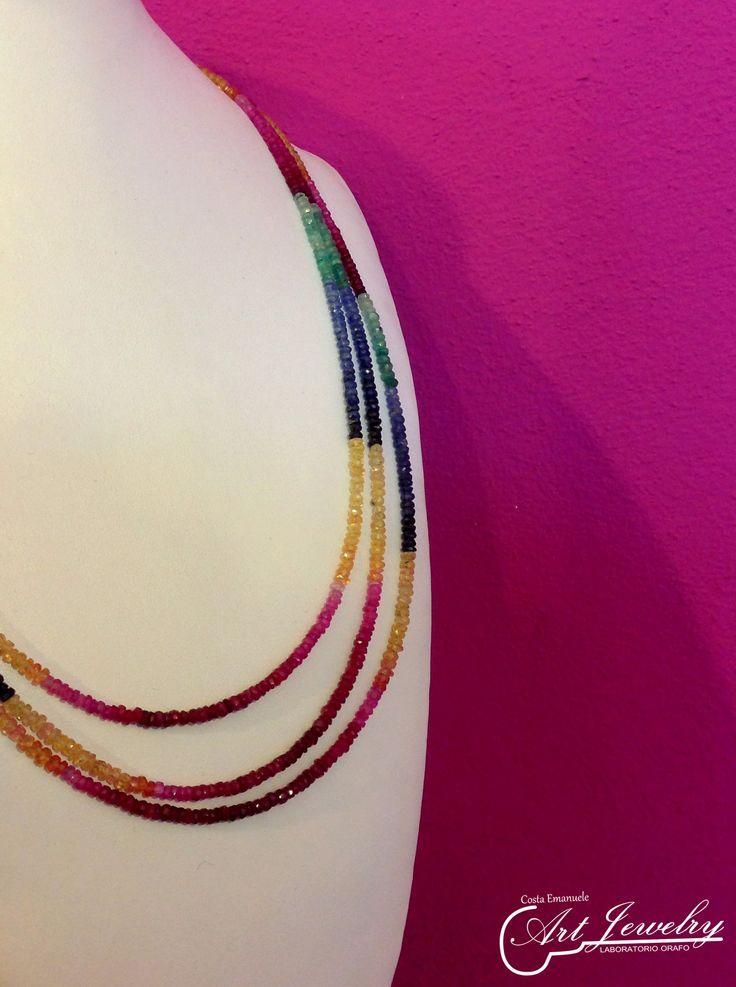 Collana di rubini, smeraldi e zaffiri. #jewellery #necklace #manufacturing #ruby #emerald #sapphire #red #fuchsia #color     https://www.instagram.com/costaemanuele_artjewelry/ https://www.facebook.com/gioiellicosta/  Photo: Noemi Barolo