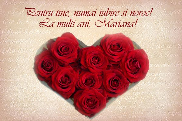 Felicitare inima trandafiri Mariana