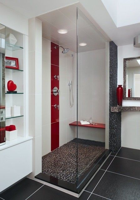 like the colour blend of red and white .... not like all that glass for the shower though. By making the shower base wider, the large glass wall is not needed. This can be revised easily and still retain the clean red / white / grey theme.