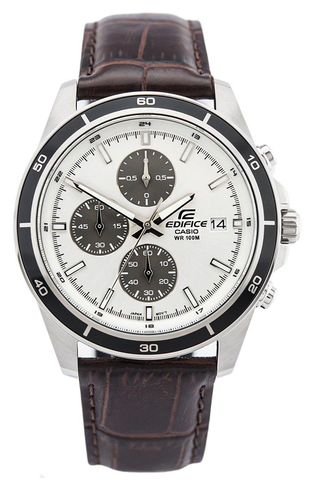 Casio Edifice Chronograaf EFR-526L-7AVUEF. Een prachtig horloge. Uitgevoerd met een zilverkleurige kast en een bruine lederen band. Dit elegante horloge heeft een, door de speciale vormgeving van de kast, beschermde kroon. Dit model is tevens tot 100 meter waterdicht en u heeft twee jaar garantie op het uurwerk. https://www.timefortrends.nl/horloges/casio.html?___SID=U