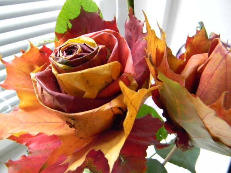 #Autumn - #Podzim, ten mám nejradši aneb růžičky z barevného listí. Jednoduché, pěkné, překvapivě trvanlivé.
