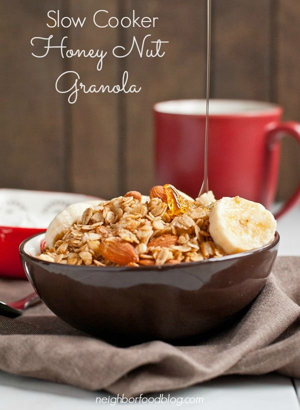 This Slow Cooker Granola is sweetened with honey and packed with crunchy almonds. An easy, toasty treat!