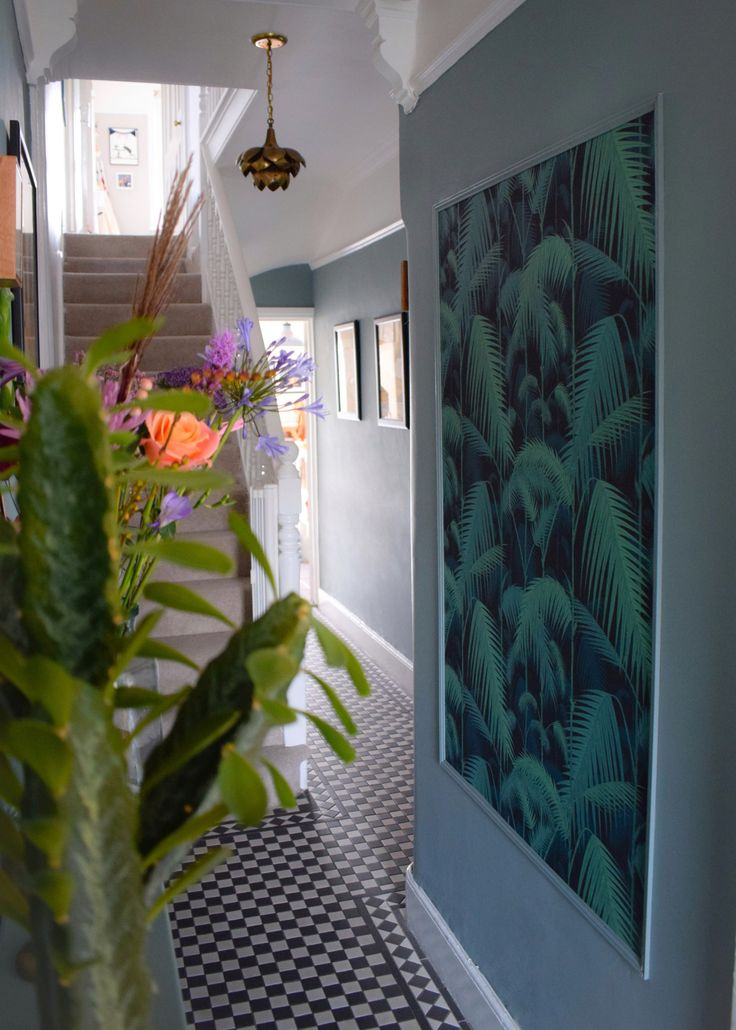 """farrow and ball """"oval room blue"""", Cole& son Palm print wallpaper vintage bohemian eclectic style hallway interiors"""