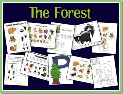 free forest printables. For this one I liked the animal track 2 page worksheet