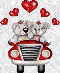 Мишки на машине поехали в романтическое путешествие - анимация на телефон №819824