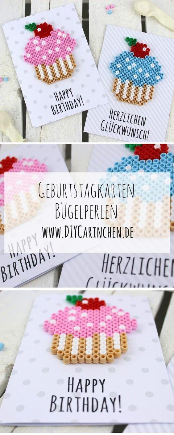 Basteln Sie selbst Geburtstagskarten aus Perlen – Geschenkidee   – Geschenke basteln