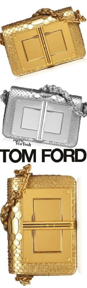 ❇Téa Tosh❇ TOM FORD, SMALL PYTHON CLUTCH in GOLD & SILVER