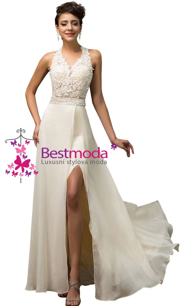 Cream evening dress with lace