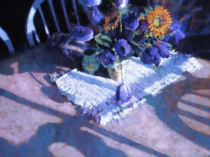 Blue Tulips and Sun Flowers/ブルー チューリップス アンド サンフラワーズ/45×60cm/ジグレ