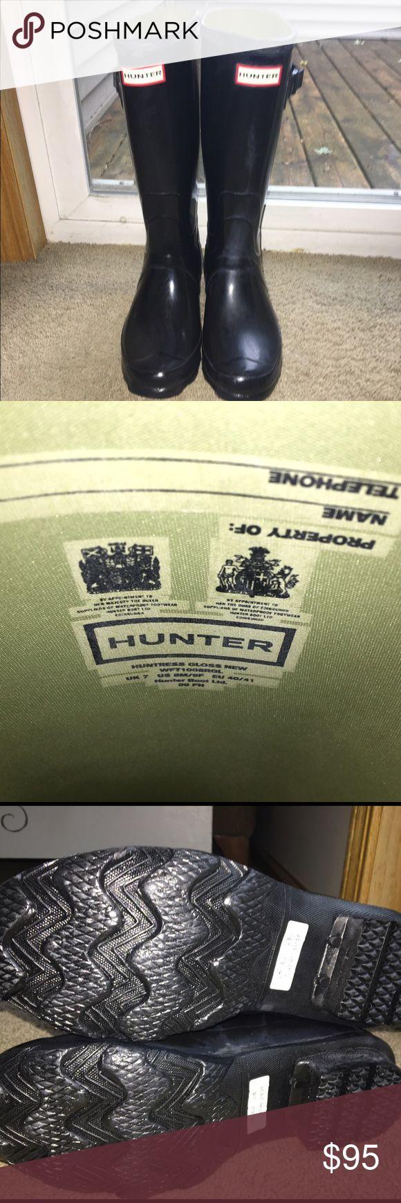 "Hunter ""Huntress"" Boots Glossy black huntress boots Hunter Boots Shoes Winter & Rain Boots"