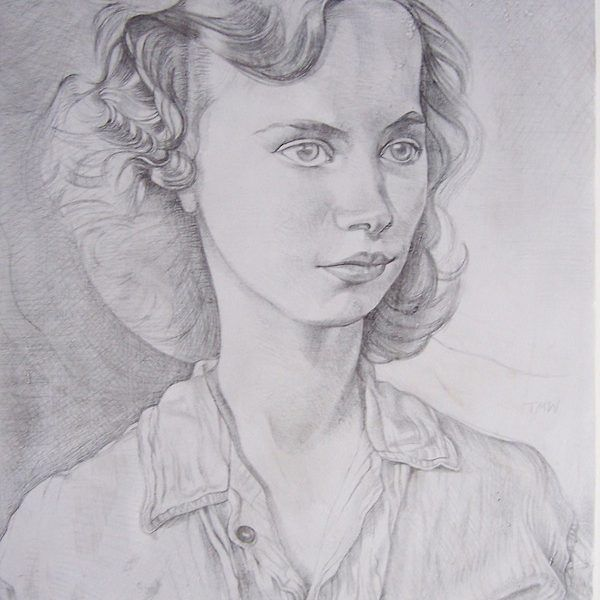 Toby Wiggins 'The Russian Girl' pencil on gesso panel