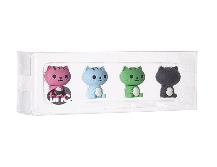 Cats have nine lives so we are hoping  that these four will be sufficient!  Meow: https://www.tinc.uk.com/products/new-scented-cat-erasers-multi/