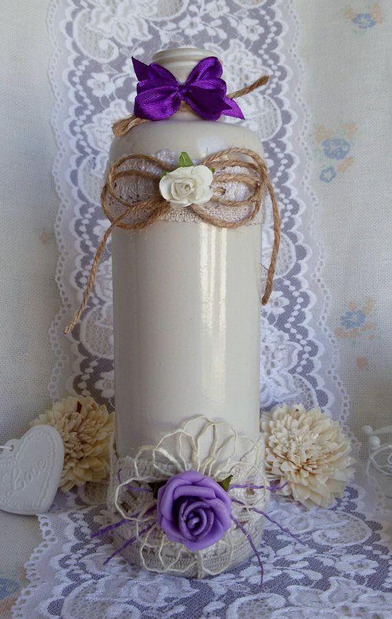 White ceramic vase ceramic flower vase white flower by Rocreanique