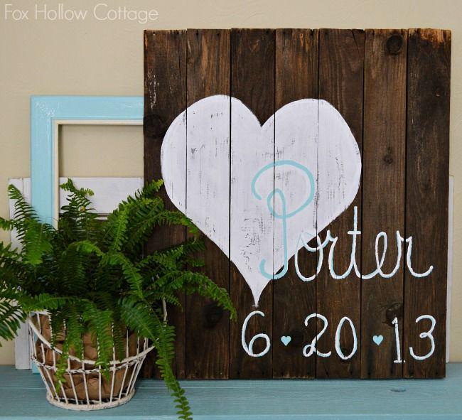 Wedding Anniversary Name Sign Reclaimed Pallet Wood Art