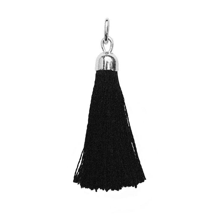 Black Tassel Charm in Sterling Silver. Available on a Sterling Silver short/long necklace or bracelet with removable ball, see website for more information.