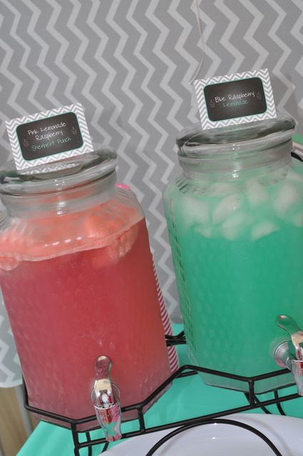 Drink station at a Chevron Pink and Mint Green 1st birthday party!  See more party ideas at CatchMyParty.com!
