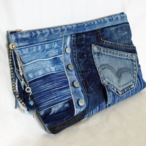 One - of - a- kind. Convenient and stylish. Pretty cool recycled jean patchwork clutch bag.  A bag is made from old Jeans and denim fabric.  Fully lined