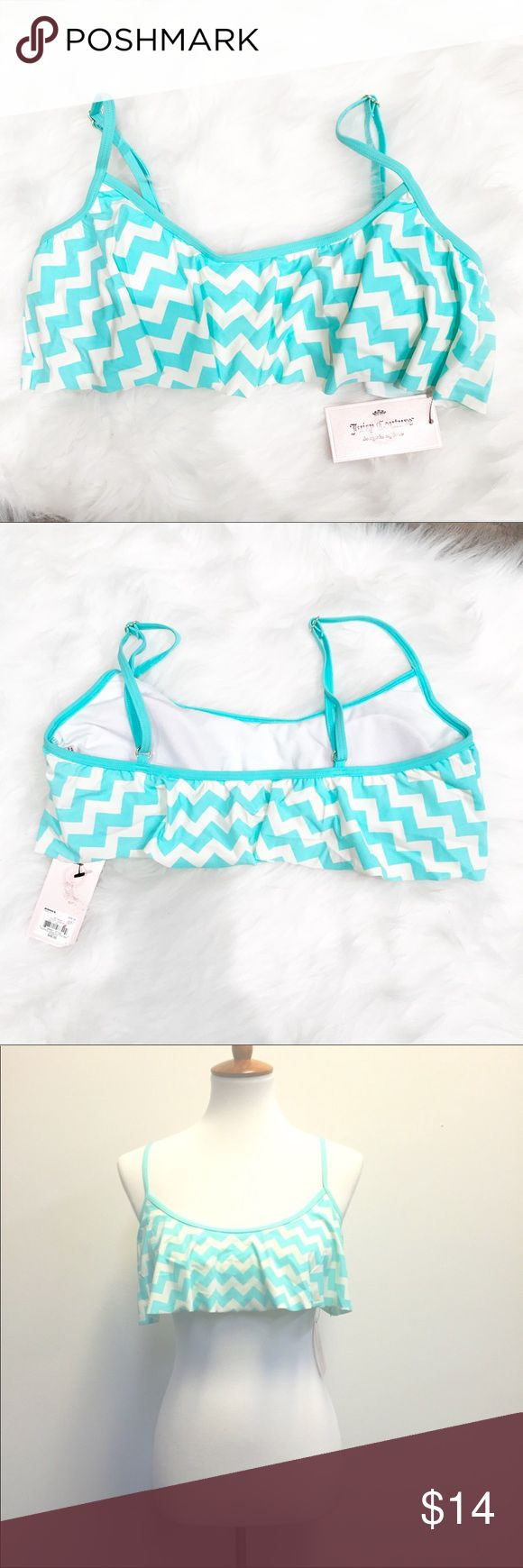 Juicy Couture Chevron Flounce Bikini Top Chic and stylish flouncy chevron bikini top from Juicy Couture. Adjustable spaghetti straps with gold hardware. Pull over the head style. Removable cups. The color is turquoise and ivory. New with tags, never worn. Smoke and pet free home. Juicy Couture Swim Bikinis
