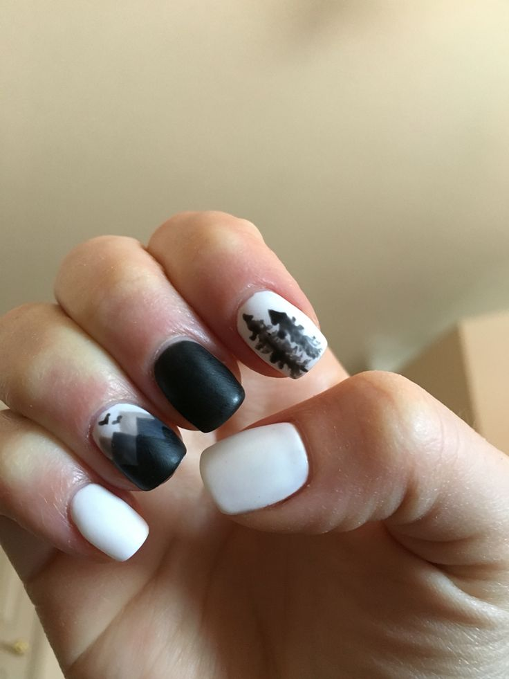 Mountain and pine tree silhouette nails! White and black mate!