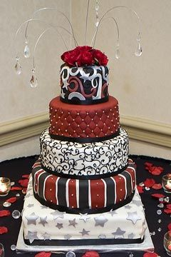 Unusual white and red five tier wedding cake: Cakes Ideas, White Wedding, Amazing Cakes, Cakes Decor, Black White, Awesome Cakes, Red Black And White Cakes, Beautiful Cakes, Red And Black Wedding Cakes
