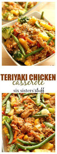 Teriyaki Chicken Casserole from SixSistersStuff.com | You can make this simple, healthy recipe the night before, put it in the fridge and cook it the next day. It is so delicious, even your picky eaters will come back for more!